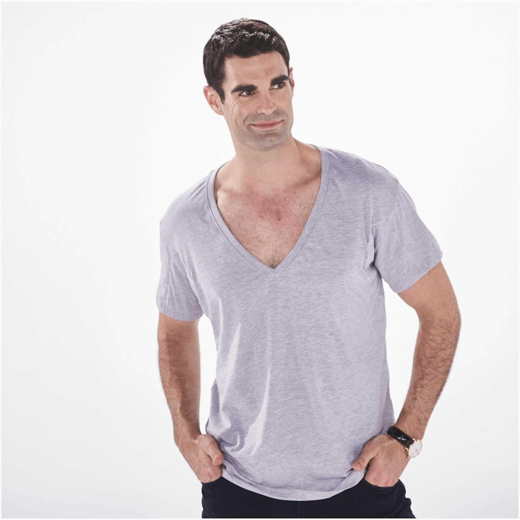 White T Shirt Under V Neck Sweater